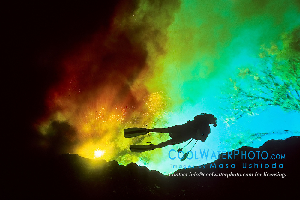 scuba diver at intersection of organically nutrient-rich brown water from Santa Fe River and crystal clear water from Devils Ear Spring, Ginnie Springs, High Springs, Florida