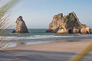 View from the rolling sand dunes of Wharariki Beach.