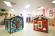 FedEx employees build construct two playhouses at Habitat For Humanity in Milpitas, Calif., on Sept. 11, 2012.  One playhouse was presented and donated to the Veterans Supportive Services Agency, Inc.  Photo by Stan Olszewski/SOSKIphoto.