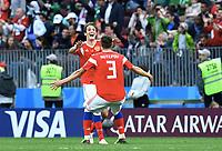 Schlussjubel v.l. Denis Cheryshev, Ilya Kutepov (Russland)<br /> Moskau, 14.06.2018, FIFA Fussball WM 2018 in Russland, Eroeffnungsspiel, Vorrunde, Russland - Saudi-Arabien 5:0<br /> Russland - Saudi-Arabia<br /> Norway only