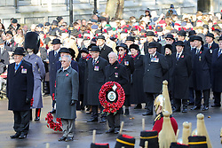 © Licensed to London News Pictures. 10/11/2019. London, UK.War veterans attend the Remembrance Sunday ceremony at the Cenotaph memorial in Whitehall, central London. Remembrance Sunday is held each year to commemorate the service men and women who fought in past military conflicts. Photo credit: Dinendra Haria/LNP