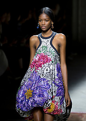 A model on the catwalk during the Mary Katrantzou London Fashion Week SS18 show held at Topshop Showspace, London.