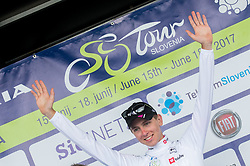Best young rider classification winner Tadej Pogacar (SLO) of Rog - Ljubljana celebrates in white jersey at trophy ceremony after the Stage 3 of 24th Tour of Slovenia 2017 / Tour de Slovenie from Celje to Rogla (167,7 km) cycling race on June 16, 2017 in Slovenia. Photo by Vid Ponikvar / Sportida