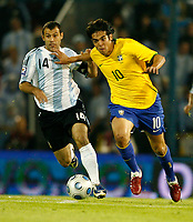 Fotball<br /> Foto: Piko Press/Digitalsport<br /> NORWAY ONLY<br /> <br /> ARGENTINA Vs BRASIL in the South American Soccer derby for the FIFA World Cup S.Africa 2010 Qualification round.<br /> <br /> Brazilian KAKA and Argentine JAVIER MASCHERANO<br /> <br /> Rosario - Argentina Septiembre 05, 2009