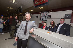 Alan Cumming at the checkin gate, as Delta launch their new year-round nonstop service from Edinburgh to New York-JFK today at Edinburgh Airport.