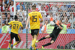 June 23, 2018 - Moscou, VAZIO, Russia - Batshuayi Michy of Belgium, Meunier Thomas of Belgium and Ben Mustapha Farouk of Tunisia during Belgium-Tunisia match valid for the second round of group G of the 2018 World Cup, held at Spartak Stadium. Belgium wins over Tunisia with the score of 5-2. (Credit Image: © Thiago Bernardes/Pacific Press via ZUMA Wire)