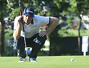 ST. LOUIS, MO - AUGUST 09: Keegan Bradley lines up his putt on the #10 green during the first round of the PGA Championship on August 09, 2018, at Bellerive Country Club, St. Louis, MO.  (Photo by Keith Gillett/Icon Sportswire)