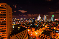 Night view of the skyline of the city center of Tel Aviv, Israel.
