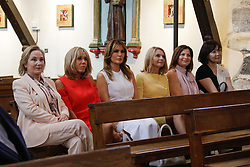 Brigitte Macron, wife of French President Emmanuel Macron, U.S. First Lady Melania Trump , Akie Abe, wife of Japan's Prime Minister Shinzo Abe, Chile's First Lady Cecilia Morel, Jenny Morrison, wife of Australia's Prime Minister Scott Morrison, and Malgorzata Tusk, wife of European Council President Donald Tusk visit a church during a visit on traditional Basque culture in Espelette, near Biarritz as part of the G7 summit, August 25, 2019. Photo by Thibaud Moritz/ABACAPRESS.COM