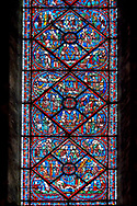 Medieval stained glass Window of the Gothic Cathedral of Chartres, France- dedicated to Joseph the Patriach . A UNESCO World Heritage Site. .<br /> <br /> Visit our MEDIEVAL ART PHOTO COLLECTIONS for more   photos  to download or buy as prints https://funkystock.photoshelter.com/gallery-collection/Medieval-Middle-Ages-Art-Artefacts-Antiquities-Pictures-Images-of/C0000YpKXiAHnG2k
