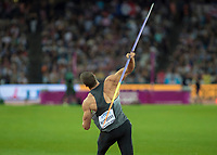 Athletics - 2017 IAAF London World Athletics Championships - Day Nine, Evening Session<br /> <br /> Mens Javelin Final<br /> <br /> Andreas Hoffman (Germany) launches the javelin at the London Stadium<br /> <br /> COLORSPORT/DANIEL BEARHAM