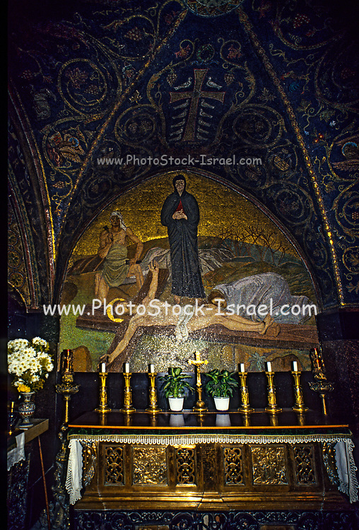 Interior of the Church of the Holy Sepulchre, Jerusalem, Israel A mosaic depiction of Christ's body being prepared after his death