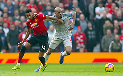Manchester United's Jesse Lingard (left) and Liverpool's Fabinho battle for the ball