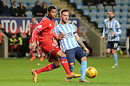 Coventry City striker Adam Armstrong plays the ball during the Sky Bet League 1 match between Coventry City and Oldham Athletic at the Ricoh Arena, Coventry, England on 19 December 2015. Photo by Alan Franklin.