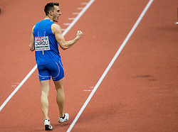 Simone Cairoli of Italy reacts in the Heptathlon Long Jump Men on day two of the 2017 European Athletics Indoor Championships at the Kombank Arena on March 4, 2017 in Belgrade, Serbia. Photo by Vid Ponikvar / Sportida