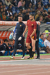 October 14, 2017 - Rome, Italy - Kostas Manolas leaves the field for injury during the Italian Serie A football match between A.S. Roma and S.S.C. Napoli at the Olympic Stadium in Rome, on october 14, 2017. (Credit Image: © Silvia Lor/Pacific Press via ZUMA Wire)