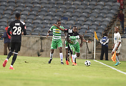 Justin Shonga of Orlando Pirates battle for the ball with Deon Hotto of Bloemfontein Celtic during the<br />ABSA premiership league at Orlando stadium, Soweto.<br />Picture: Itumeleng English/ African News Agency /ANA