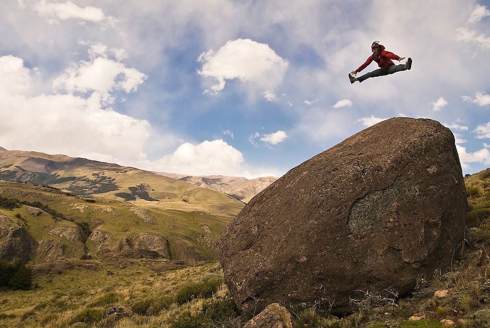 Jeremy Collins trying to fly in Patagonia, Argentina