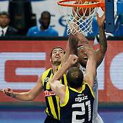 Efes Pilsen's Lawrence ROBERTS (C) during their Turkish Basketball league derby match Efes Pilsen between Fenerbahce Ulker at the Sinan Erdem Arena in Istanbul Turkey on Sunday 24 April 2011. Photo by TURKPIX