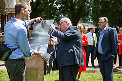 London, UK. 6 June, 2019. Lord Pickles and Ed Balls, co-chairs of the UK Holocaust Memorial Fund, select bronze and limestone for the UK Holocaust Memorial and Learning Centre in Victoria Tower Gardens beside Parliament with Asa Bruno, Director of Ron Arad Architects. The Prime Minister recently led cross-party support for the new memorial.
