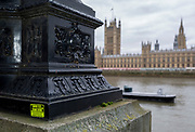 A sticker stating that this is a Brrexit crime scene, overlooking the Houses of Parliament across the river Thames in Westminster, on 27th March 2019, in London, England