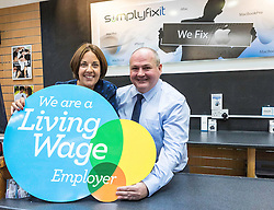 Scottish Labour Leader, Kezia Dugdale, visits IT repair and retail store SimplyFixIt in Edinburgh, which has recently been accredited as a living wage employer.<br /> <br /> Pictured: Kezia Dugdale with Scott Wilkinson (Area Manager)