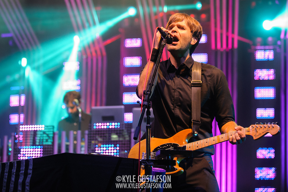 COLUMBIA, MD - June 18th, 2013 - Jimmy Tamborello and Ben Gibbard of the Postal Service perform at Merriweather Post Pavilion in Columbia, MD on their 10th Anniversary Give Up tour. (Photo by Kyle Gustafson)