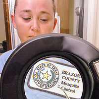 Brazoria County Mosquito Control employee Nicole Corona shows a mosquito under a magnifying glass at the center in Angleton.