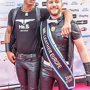 NLD/Amsterdam/20150629 - Uitreiking Rainbow Awards 2015, Arnaud Mr. leather Europe 2015 en partner