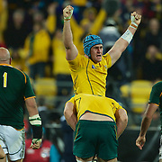 Australian Captain James Horwill celebrates victory at the final whistle during  the South Africa V Australia Quarter Final match at the IRB Rugby World Cup tournament. Wellington Regional Stadium, Wellington, New Zealand, 9th October 2011. Photo Tim Clayton...