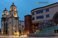 Historic Saint Augustine Cathedral at dusk in downtown Tucson, Arizona, USA