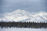 Mountains around Broad Pass are covered in a fresh coat of winter snow.