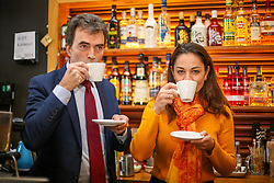 © Licensed to London News Pictures. 21/11/2019. London, UK. Liberal Democrat Shadow Brexit Secretary, TOM BRAKE and London Mayoral candidate, SIOBHAN BENITA drinks coffees as they visit Karamel Cafe - a creative regeneration charity in Hornsey and Wood Green, north London. Photo credit: Dinendra Haria/LNP