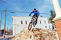 Mike Brunet snowbank riding in Marquette, Mi, 2003