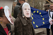 On the day that Article 50 was invoked to start the process of Brexit from the European Union, protesters gather in Westminster to show their displeasure that Britain will be leaving the EU, on March 29th 2017 in London, England, United Kingdom. Carrying the flag of Europe and wearing politicians masks, the protest centred around the Houses of Parliament.