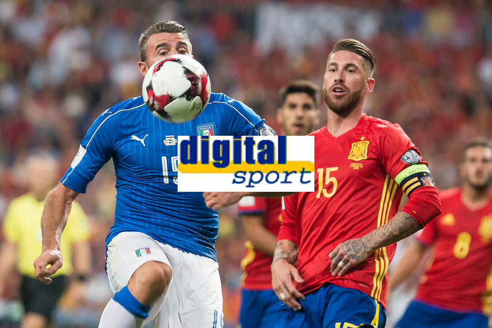 Spain's Sergio Ramos and Italy's Andrea Barzagli during match between Spain and Italy to clasification to World Cup 2018 at Santiago Bernabeu Stadium in Madrid, Spain September 02, 2017. (ALTERPHOTOS/Borja B.Hojas)