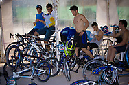 Team Argentina takes a break after the A Practice at the UCI BMX Supercross World Cup in Santiago del Estero, Argintina.
