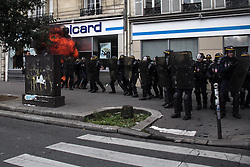 September 15, 2016 - Paris, France - A molotov cocktail exploses closes to the National French police in Paris on September 15, 2016 . Parisians took out the streets this Thursday to make a new demonstration over the so controversial Labor Law reform in France. Thousands gathered at Place de la Bastille for a peaceful walk to Place de la République, but as is usual, an anarchist group clashed in a confrontation with police that lasted all the way. (Credit Image: © David Cordova/NurPhoto via ZUMA Press)
