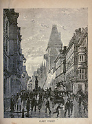 Fleet street, London, England, from The merchant vessel : a sailor boy's voyages to see the world [around the world] by Nordhoff, Charles, 1830-1901 engraved by C. LaPlante; some illustrations by W.L. Wyllie Publisher New York : Dodd, Mead & Co. 1884