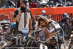 David Latz (HD Motorcycle Product Planner - L) and Jodi Searl (HD University Director - R) judge bikes at the Harley-Davidson Editors Choice bike show at the Broken Spoke Saloon. Daytona Bike Week 75th Anniversary event. FL, USA. Wednesday March 9, 2016.  Photography ©2016 Michael Lichter.