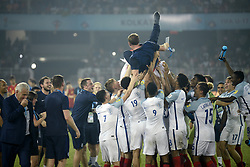 October 28, 2017 - Kolkata, West Bengal, India - England player celebrates wining of FIFA U 17 World Cup India 2017 Final math in Kolkata.  Player of England and Spain in action during the FIFA U 17 World Cup India 2017 Final match on October 28, 2017 in Kolkata. England wins FIFA U 17 World Cup 5 - 2 goals against Spain. (Credit Image: © Saikat Paul/Pacific Press via ZUMA Wire)