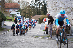 Gloria Rodriguez (ESP) leads the chase of the second group at Le Samyn des Dames 2019, a 101 km road race from Quaregnon to Dour, Belgium on March 5, 2019. Photo by Sean Robinson/velofocus.com