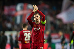 SALZBURG, AUSTRIA - Tuesday, December 10, 2019: Liverpool's captain Jordan Henderson applauds the supporters after the final UEFA Champions League Group E match between FC Salzburg and Liverpool FC at the Red Bull Arena. Liverpool won 2-0. (Pic by David Rawcliffe/Propaganda)