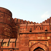 Asia, India, Aga. The Red Fort of Agra, a UNESCO World Heritage site.