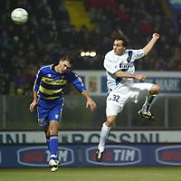 Parma 10/1/2004<br />Parma Inter 1-0<br />An head shot of Christian Vieri (Inter) challenged by Paolo Cannavaro (Parma)<br />Photo Andrea Staccioli Graffiti