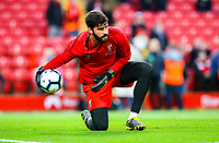 Liverpool's Alisson warms up<br /> <br /> Photographer Alex Dodd/CameraSport<br /> <br /> The Premier League - Liverpool v Huddersfield Town - Friday 26th April 2019 - Anfield - Liverpool<br /> <br /> World Copyright © 2019 CameraSport. All rights reserved. 43 Linden Ave. Countesthorpe. Leicester. England. LE8 5PG - Tel: +44 (0) 116 277 4147 - admin@camerasport.com - www.camerasport.com