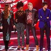 NLD/Hilversum/20121214 - Finale The Voice of Holland 2012, uitslag Wendy van Dijk, Trijntje Oosterhuis, Leona Phillipo, Johannes Rypma, Nick & Simon