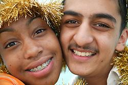 Portrait of teenage boy and girl,