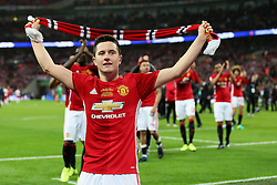 Ander Herrera of Manchester United celebrates with a club scarf - Mandatory by-line: Matt McNulty/JMP - 26/02/2017 - FOOTBALL - Wembley Stadium - London, England - Manchester United v Southampton - EFL Cup Final