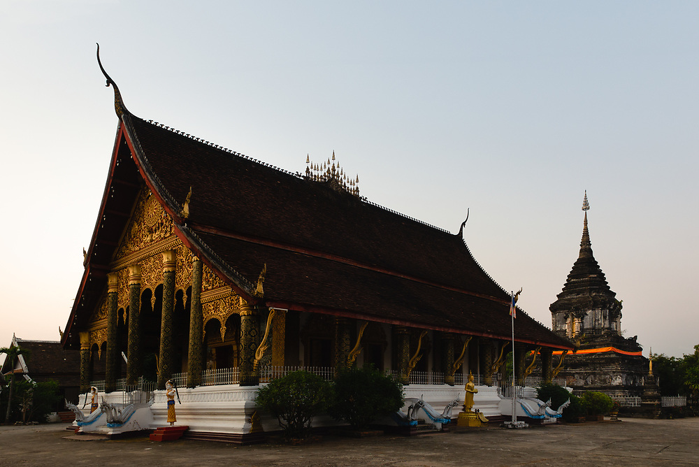 Exterior of Wat Mahathat in Luang Prabang at sunrise